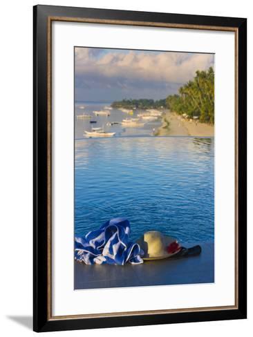 Travel, Towel and Straw Hat on the Beach, Bohol Island, Philippines-Keren Su-Framed Art Print