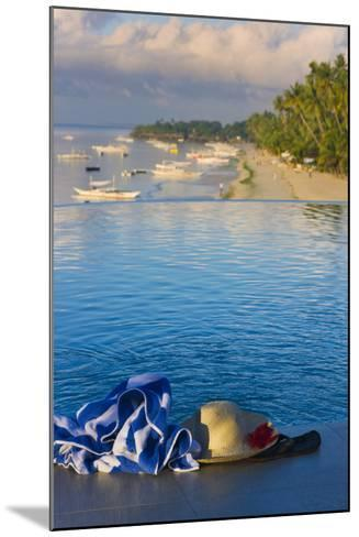 Travel, Towel and Straw Hat on the Beach, Bohol Island, Philippines-Keren Su-Mounted Photographic Print