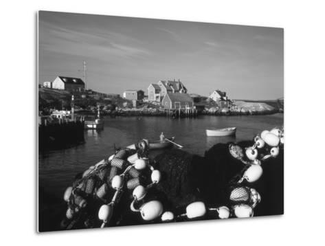Fishing Nets and Houses at Harbor, Peggy's Cove, Nova Scotia, Canada-Greg Probst-Metal Print