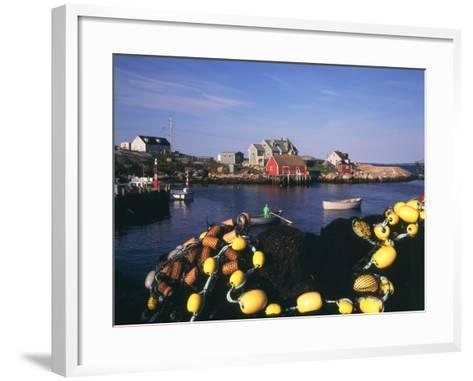 Fishing Nets and Houses at Harbor, Peggy's Cove, Nova Scotia, Canada-Greg Probst-Framed Art Print