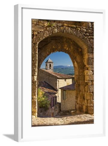 Stone Gate in Lacoste with Mount Ventoux Beyond, Provence, France-Brian Jannsen-Framed Art Print