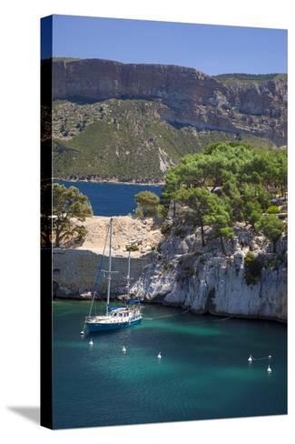 Sailboat, the Calanques, Cassis, Bouches-Du-Rhone, Cote d'Azur, Provence, France-Brian Jannsen-Stretched Canvas Print