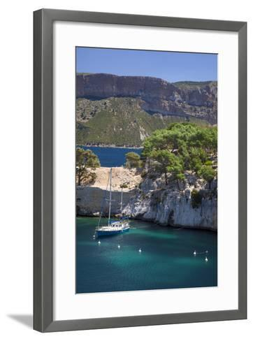 Sailboat, the Calanques, Cassis, Bouches-Du-Rhone, Cote d'Azur, Provence, France-Brian Jannsen-Framed Art Print