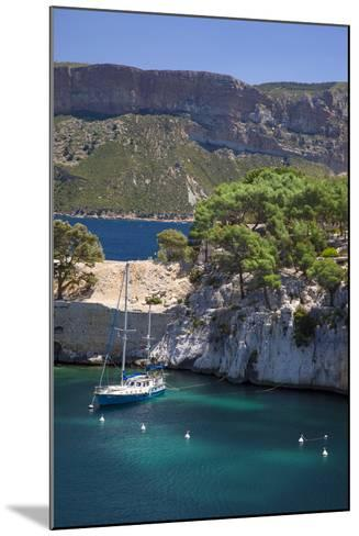 Sailboat, the Calanques, Cassis, Bouches-Du-Rhone, Cote d'Azur, Provence, France-Brian Jannsen-Mounted Photographic Print