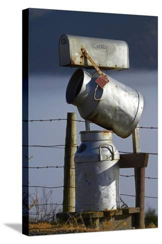 Letterbox Made from Milk Churns, Dunedin, South Island, New Zealand-David Wall-Stretched Canvas Print