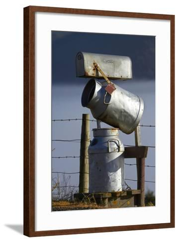 Letterbox Made from Milk Churns, Dunedin, South Island, New Zealand-David Wall-Framed Art Print