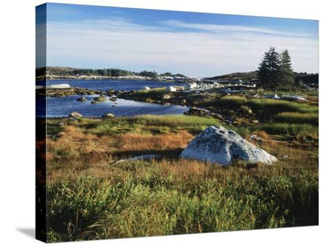 View of Sea with Coastline, Nova Scotia, Canada-Greg Probst-Stretched Canvas Print