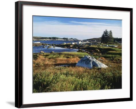 View of Sea with Coastline, Nova Scotia, Canada-Greg Probst-Framed Art Print