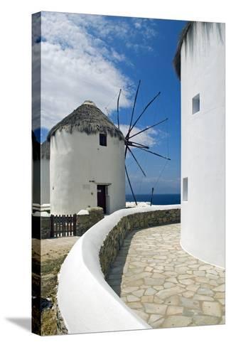 Iconic Windmills, Chora, Mykonos, Greece-David Noyes-Stretched Canvas Print