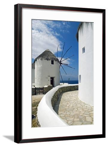 Iconic Windmills, Chora, Mykonos, Greece-David Noyes-Framed Art Print