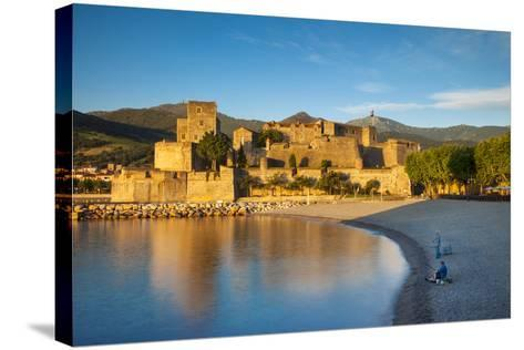 Fishing, Royal Castle, Collioure, Pyrenees-Orientales, Languedoc-Roussillon France-Brian Jannsen-Stretched Canvas Print