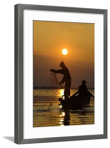 Fishing in the Danube Delta, Casting Nets During Sunset on a Lake, Romania-Martin Zwick-Framed Art Print