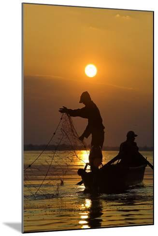 Fishing in the Danube Delta, Casting Nets During Sunset on a Lake, Romania-Martin Zwick-Mounted Photographic Print