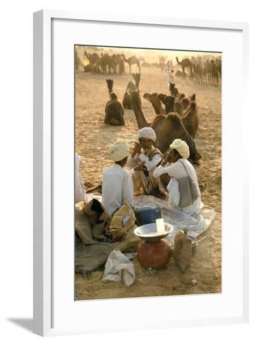 Pastoral Nomads at Annual Pushkar Camel Fair, Rajasthan, Raika, India-David Noyes-Framed Art Print