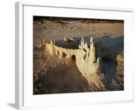 View of Sandcastle on Beach-David Barnes-Framed Art Print