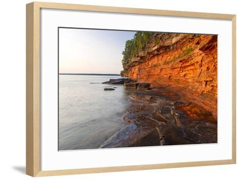 Sandstone Cliffs, Sea Caves, Devils Island, Apostle Islands Lakeshore, Wisconsin, USA-Chuck Haney-Framed Art Print