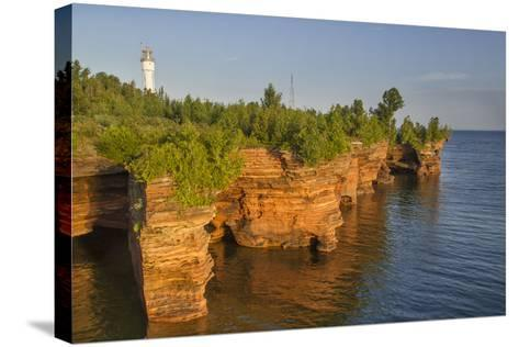 Sandstone Cliffs, Sea Caves, Devils Island, Apostle Islands Lakeshore, Wisconsin, USA-Chuck Haney-Stretched Canvas Print