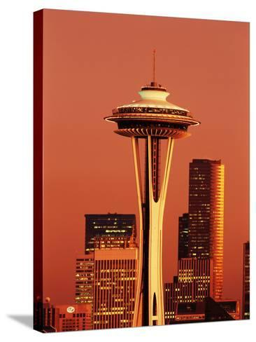 View of Space Needle and Seattle Buildings, Seattle, Washington, USA-Stuart Westmorland-Stretched Canvas Print