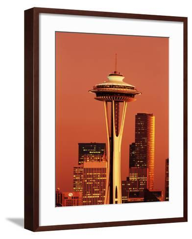 View of Space Needle and Seattle Buildings, Seattle, Washington, USA-Stuart Westmorland-Framed Art Print