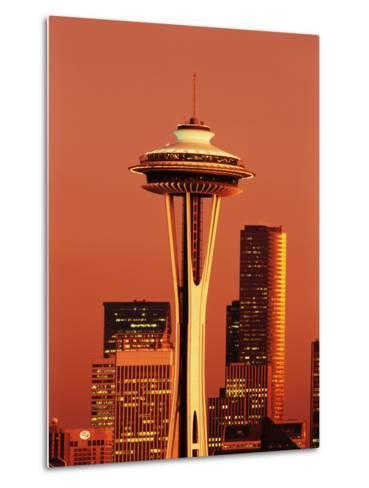 View of Space Needle and Seattle Buildings, Seattle, Washington, USA-Stuart Westmorland-Metal Print