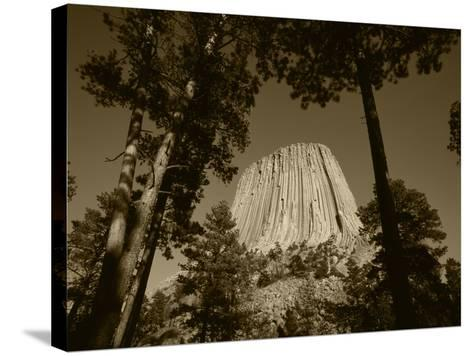 Devil's Tower National Monument at Dusk, Hulett, Wyoming, USA-Walter Bibikow-Stretched Canvas Print