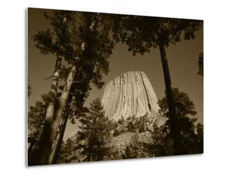 Devil's Tower National Monument at Dusk, Hulett, Wyoming, USA-Walter Bibikow-Metal Print