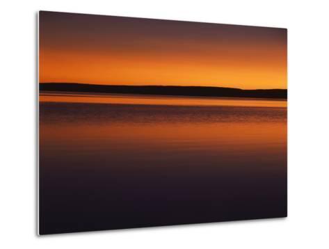 View of Yellowstone Lake at Sunset, Yellowstone National Park, Wyoming, USA-Scott T^ Smith-Metal Print