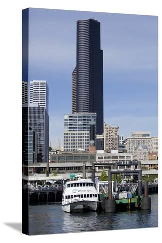 Water Taxi with Skyline, Seattle, Washington, USA-Jamie & Judy Wild-Stretched Canvas Print