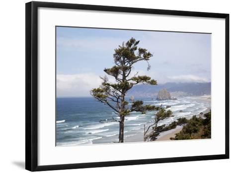 View of Haystack Rock and Cannon Beach, from Highway 101, Oregon, USA-Jamie & Judy Wild-Framed Art Print