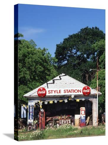 Old Gas Station at Roadside, Waco, Texas, USA-Walter Bibikow-Stretched Canvas Print