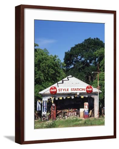 Old Gas Station at Roadside, Waco, Texas, USA-Walter Bibikow-Framed Art Print