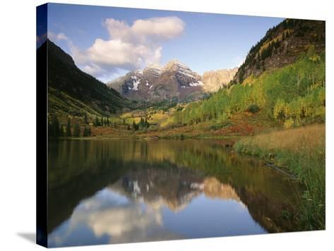 Maroon Bells Reflected in Maroon Lake, White River National Forest, Colorado, USA-Adam Jones-Stretched Canvas Print