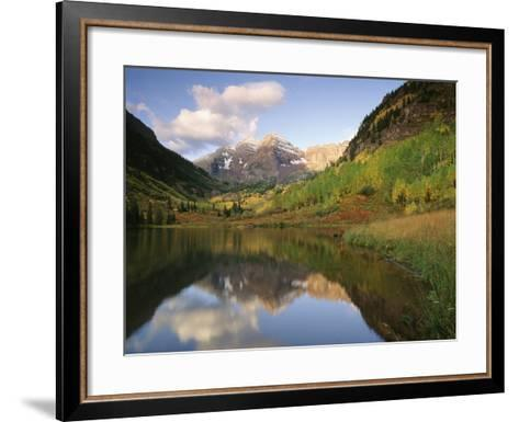 Maroon Bells Reflected in Maroon Lake, White River National Forest, Colorado, USA-Adam Jones-Framed Art Print