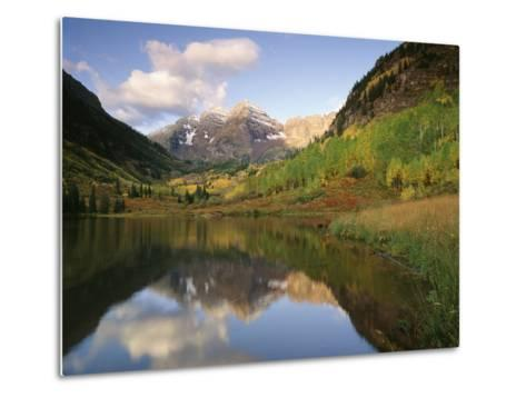 Maroon Bells Reflected in Maroon Lake, White River National Forest, Colorado, USA-Adam Jones-Metal Print