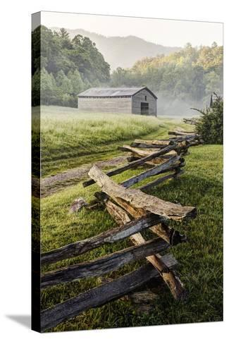 Pioneer's Barn, Split Rail Fence, Cades Cove, Great Smoky Mountains National Park, Tennessee, USA--Stretched Canvas Print