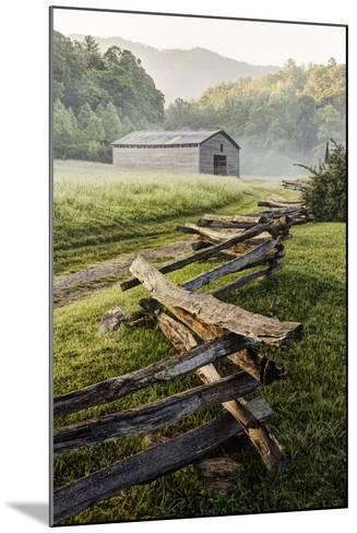 Pioneer's Barn, Split Rail Fence, Cades Cove, Great Smoky Mountains National Park, Tennessee, USA--Mounted Photographic Print