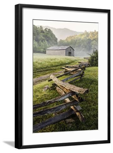 Pioneer's Barn, Split Rail Fence, Cades Cove, Great Smoky Mountains National Park, Tennessee, USA--Framed Art Print