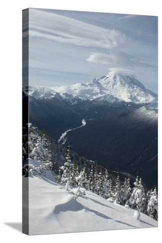View of Mt. Rainier and White River from Crystal Mountain, Washington, USA-John & Lisa Merrill-Stretched Canvas Print