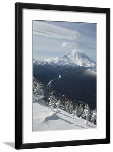 View of Mt. Rainier and White River from Crystal Mountain, Washington, USA-John & Lisa Merrill-Framed Art Print