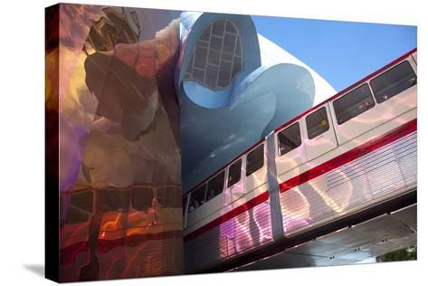 Monorail and Experience Music Project, Science Fiction Museum, Seattle, Washington, USA-John & Lisa Merrill-Stretched Canvas Print