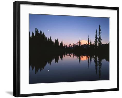 Full Moon in Upper Tipsoo Lake, Mount Rainier National Park, Washington, USA-Adam Jones-Framed Art Print