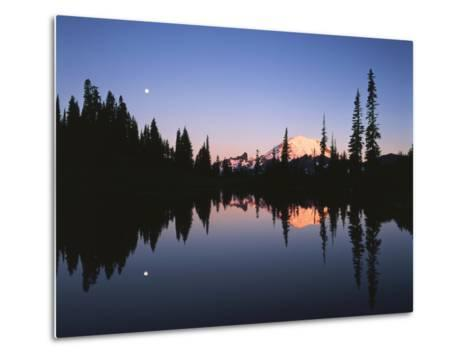 Full Moon in Upper Tipsoo Lake, Mount Rainier National Park, Washington, USA-Adam Jones-Metal Print
