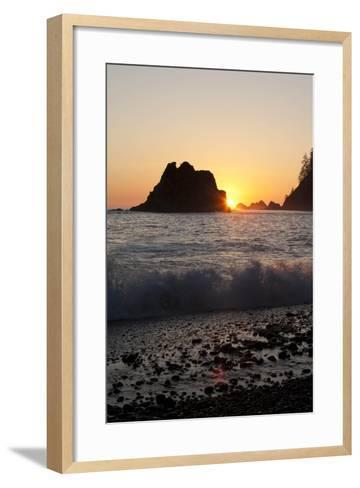 Sea Stacks and Pacific Ocean, Second Beach, Olympic National Park, Washington, USA-John & Lisa Merrill-Framed Art Print