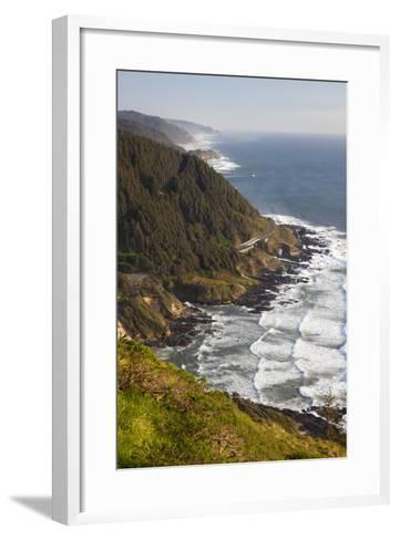 Coastline View from Overlook, Cape Perpetua Scenic Area, Oregon, USA-Jamie & Judy Wild-Framed Art Print