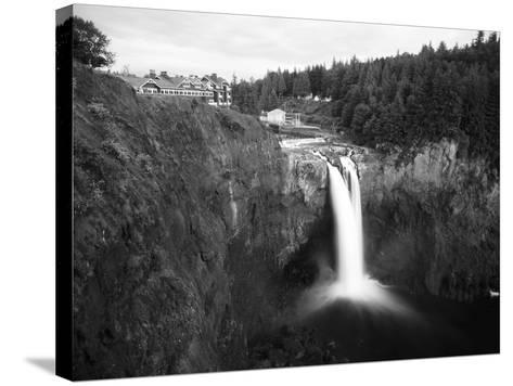 Salish Lodge and English Daisies, Snoqualmie Falls, Washington, USA-Charles Crust-Stretched Canvas Print