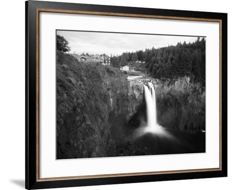 Salish Lodge and English Daisies, Snoqualmie Falls, Washington, USA-Charles Crust-Framed Art Print