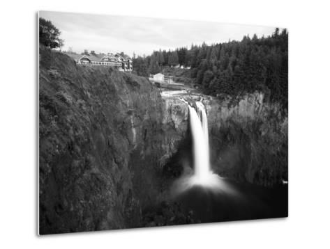 Salish Lodge and English Daisies, Snoqualmie Falls, Washington, USA-Charles Crust-Metal Print