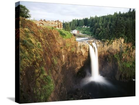Salish Lodge and English Daisies, Snoqualmie Falls, Washington, USA-Charles Crust-Stretched Canvas Print