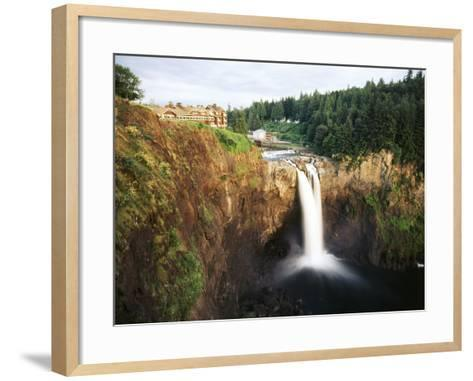 Salish Lodge and English Daisies, Snoqualmie Falls, Washington, USA-Charles Crust-Framed Art Print