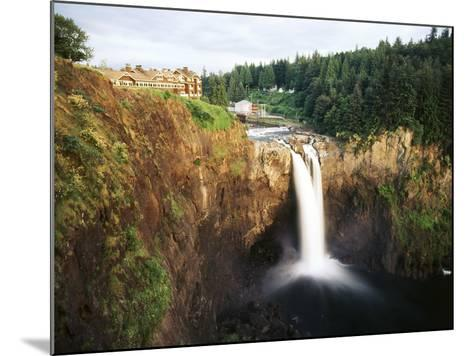 Salish Lodge and English Daisies, Snoqualmie Falls, Washington, USA-Charles Crust-Mounted Photographic Print